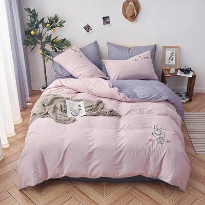 2019新款水洗棉床上用品四件套全棉纯棉刺绣被套床单三件套简约1.5m床笠4 1.2m床床单款 小兔子-水粉