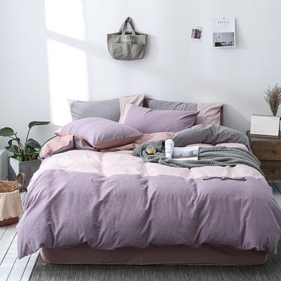 2019新款水洗棉四件套全棉纯棉纯色简约裸睡被套件天竺棉床笠床单床上用品 1.2m床床单款 忘忧