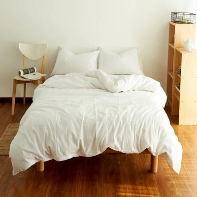 2019新款纯色四件套 1.2m床床笠款 水洗素白色