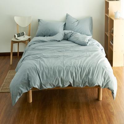 2019新款纯色四件套 1.2m床床笠款 水洗素淡蓝