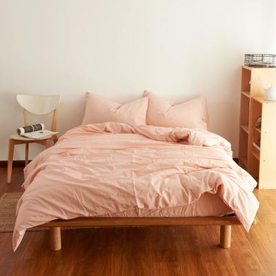 2019新款纯色四件套 1.2m床床笠款 水洗素粉色