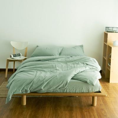 2019新款纯色四件套 1.2m床床笠款 水洗素水绿