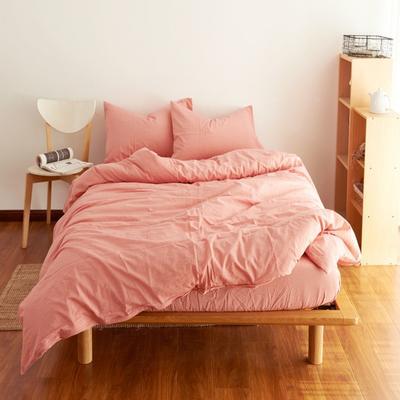 2019新款纯色四件套 1.2m床床笠款 水洗素玉红