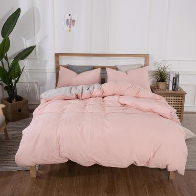 2019新款水洗棉双拼四件套 1.2m床床笠款 纯粉色拼浅米