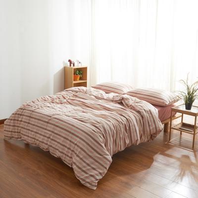 2019新款水洗棉条纹四件套 1.2m床床笠款 粉灰条纹