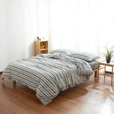 2019新款水洗棉条纹四件套 1.2m床床笠款 蓝灰条纹