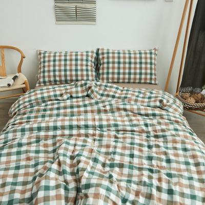 2019新款水洗棉格子四件套 1.2m床床笠款 七分格