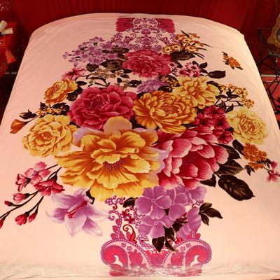 西班牙盖毯 200cmx230cm 勾边富贵花