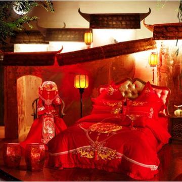 婚庆/全棉/提花/绣花/四件套/多件套系列——十全十美 1.8m(6英尺)床 4件套