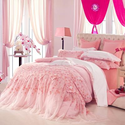 婚庆/全棉/提花/绣花/四件套/多件套——杜勒丽花园 1.8m(6英尺)床 4件套