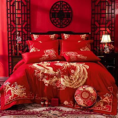 2020新款-婚庆多件套(千里江山) 标准(1.5m-1.8m床) 床单式四件套