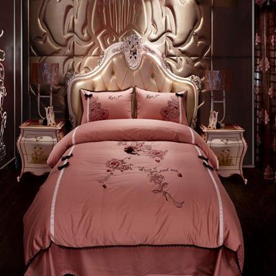 2020新款-经典款婚庆多件套 标准1.5m床-1.8m床 爱的华尔兹玫红
