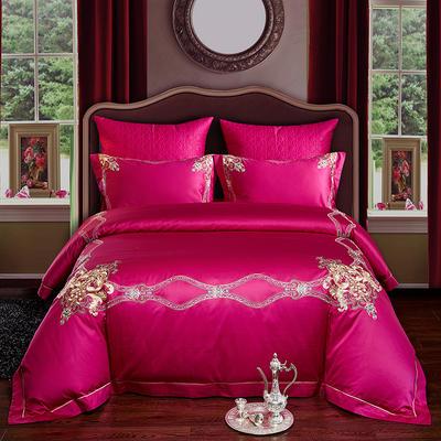 2020新款-经典款婚庆多件套(总) 标准1.5m床-1.8m床 爱的华尔兹玫红
