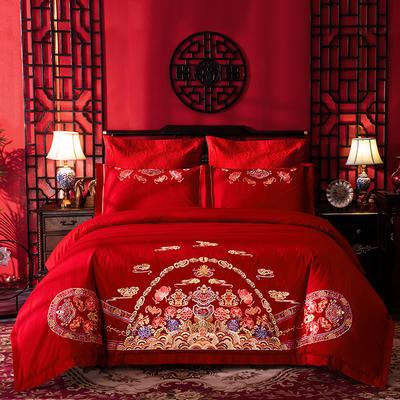 2020新款-婚庆全棉40支(总) 标准床单式四件套1.5m床-1.8m床 加官进爵