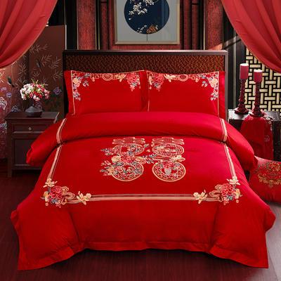 2020新款-婚庆100支(总) 标准床盖式四件套1.5m床-1.8m床 皆大欢喜