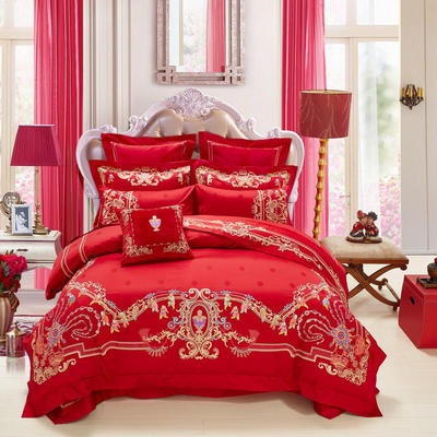 2021新款-百子系列婚庆套件 标准床单式四件套1.5m床-1.8m床 百年琴瑟
