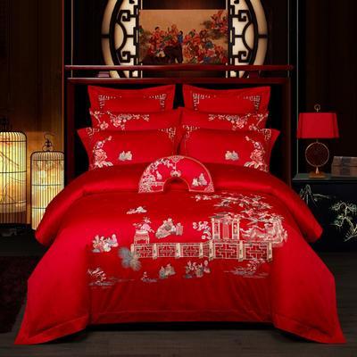 2021新款-百子系列婚庆套件 标准床单式四件套1.5m床-1.8m床 百子生辉