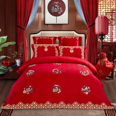 2021新款-百子系列婚庆套件 标准床单式四件套1.5m床-1.8m床 和和美美
