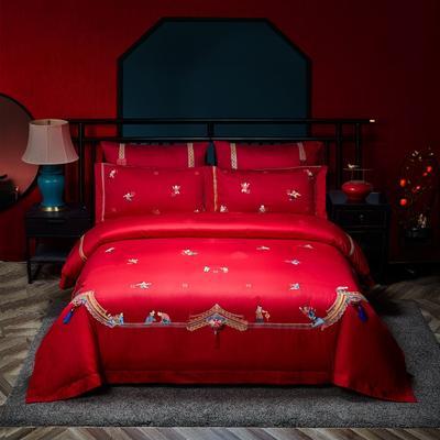 2021新款-百子系列婚庆套件 标准床单式四件套1.5m床-1.8m床 欢乐喜事