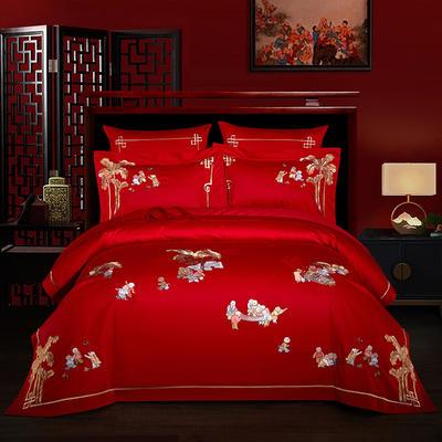 2021新款-百子系列婚庆套件 标准床单式四件套1.5m床-1.8m床 家业辉煌