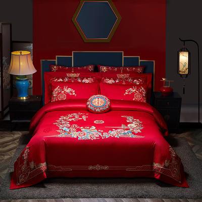 2021新款-新中式花卉婚庆套件 标准床单式四件套1.5m床-1.8m床 花鸟风月