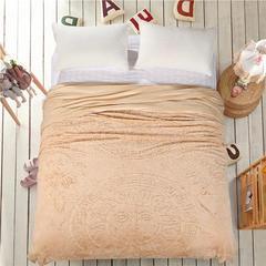 立体雕花超细旦双层毛毯 240cmx220cm 太阳花-驼