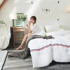 2018新款日式加厚织带水洗棉冬被 150x200cm(5斤) 白色