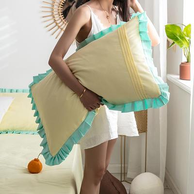单品枕套/对 48cmX74cm 百褶青柠黄