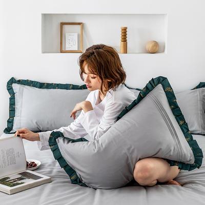 单品枕套/对 48cmX74cm 百褶森林灰