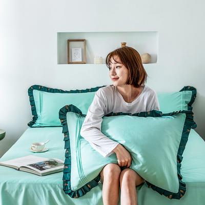 单品枕套/对 48cmX74cm 百褶森女蓝