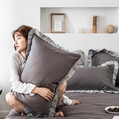 单品枕套/对 48cmX74cm 百褶雾霭灰