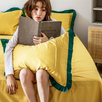 单品枕套/对 48cmX74cm 百褶油果黄
