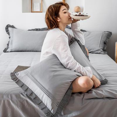 单品枕套/对 48cmX74cm 百褶银千鸟