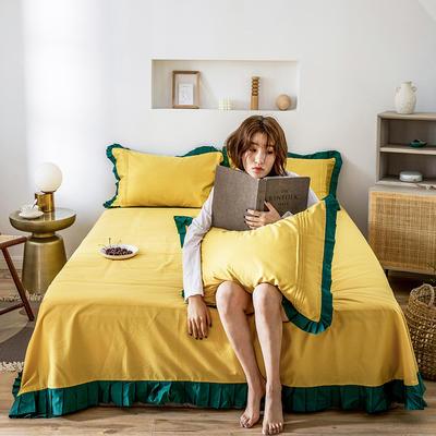 单品床单 180cmx230cm 百褶油果黄