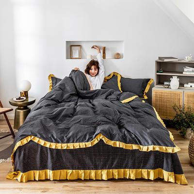 四件套 1.2m床三件套 百褶波点黄