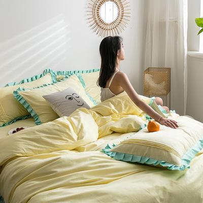四件套 1.2m床三件套 百褶青柠黄