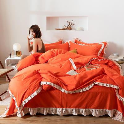 四件套 1.2m床三件套 百褶珊瑚橘