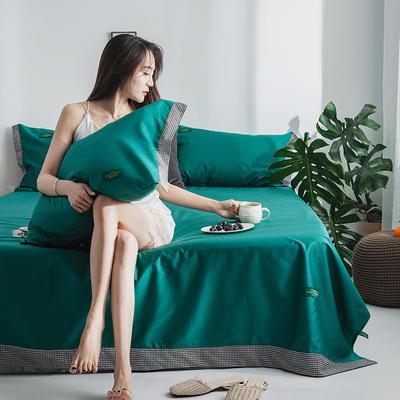 40s贡棉宽边--单床单 180cmx230cm 千鸟森林绿