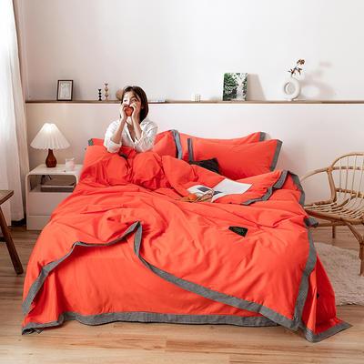 40贡缎宽边四件套 1.2m床单款三件套 珊瑚橘千鸟