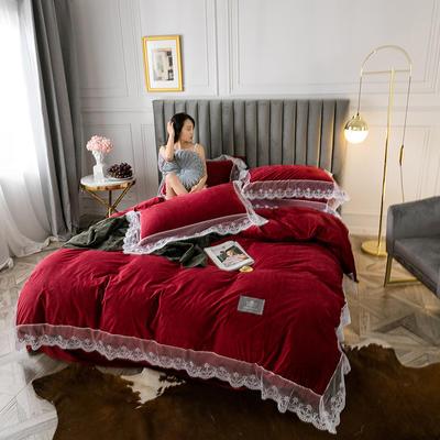 2019新款维密臻丝绒四件套 1.2m床单款三件套 维密酒红色