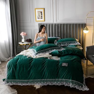 2019新款维密臻丝绒四件套 1.2m床单款三件套 维密墨绿色