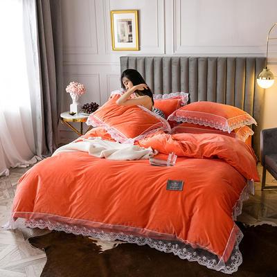 2019新款维密臻丝绒四件套 1.2m床单款三件套 维密珊瑚橘