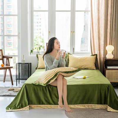 2019新款臻丝绒撞色单床单 床单:120*230 格伦格-黄绿