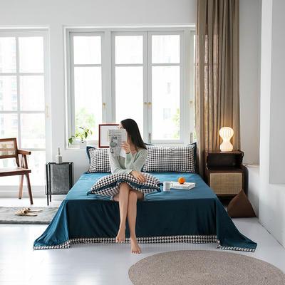 2019新款臻丝绒撞色单床单 床单:120*230 格伦格-蓝灰