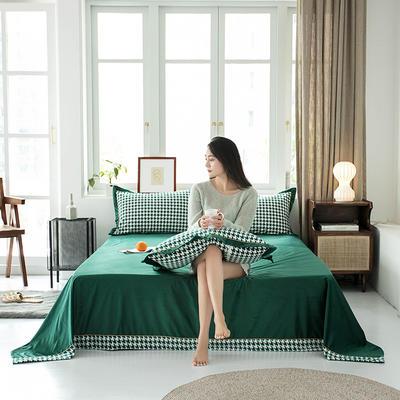 2019新款臻丝绒撞色单床单 床单:120*230 格伦格-墨绿