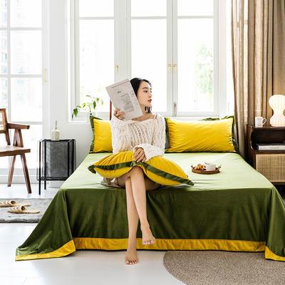2019新款臻丝绒撞色单床单 床单:120*230 古金黄墨绿