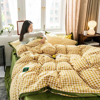 2019新款臻丝绒撞色镶边四件套 1.5m床四件套 格伦格-黄绿