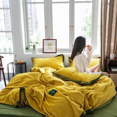 2019新款臻丝绒撞色镶边四件套 1.5m床四件套 古金黄墨绿