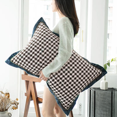 2019新款臻丝绒撞色枕套单品/对 48cmX74cm 格伦格蓝灰
