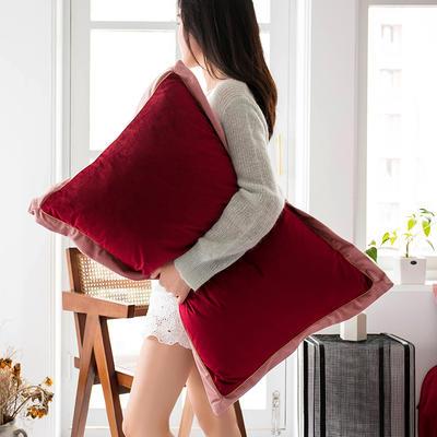 2019新款臻丝绒撞色枕套单品/对 48cmX74cm 玛莎拉红